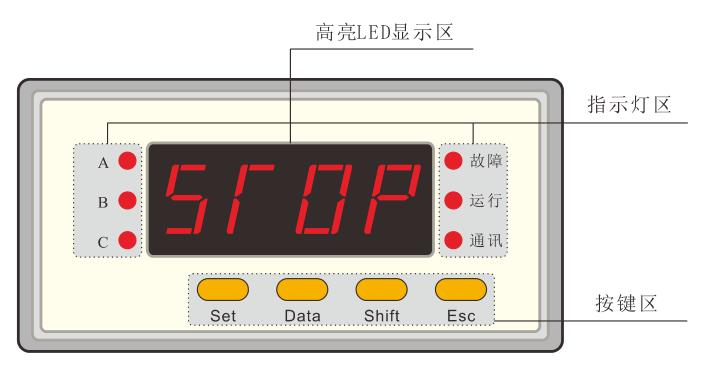 SJD300系列电动机保护器面板示意图