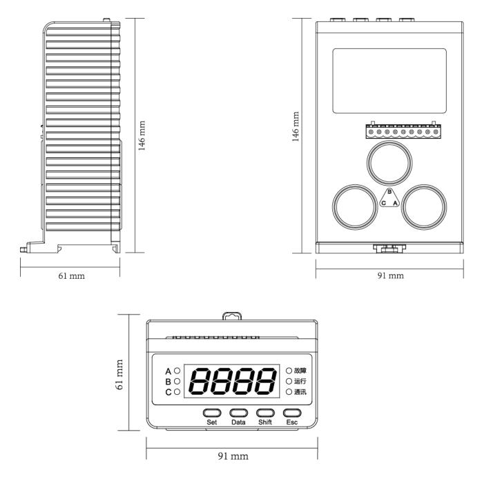 SJD300系列电动机保护器外形尺寸