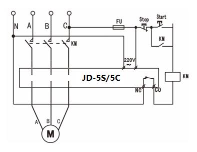 JD-5S/JD-5C智能电动机过载缺相保护器接线图