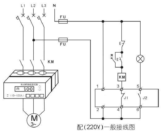 电动机智能监控器220v一般接线图