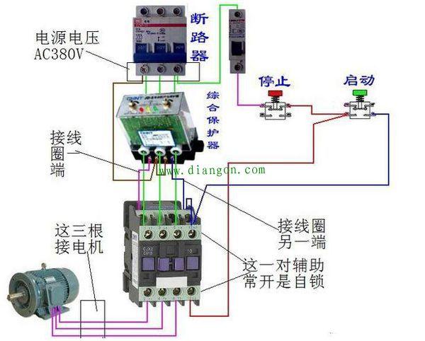 正泰电动机保护器接线图如下